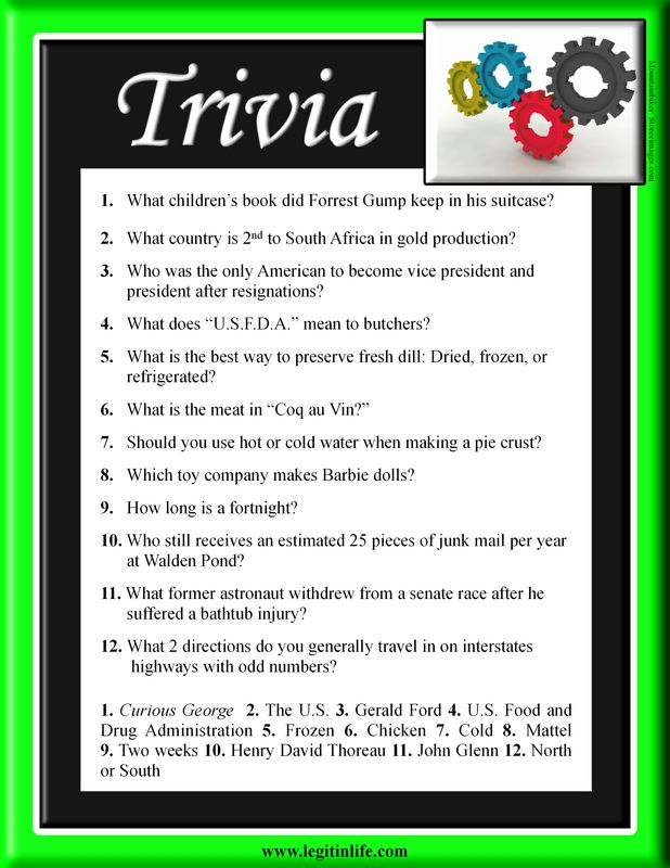 Trivia - Simple trivia questions to get you thinking. How ...