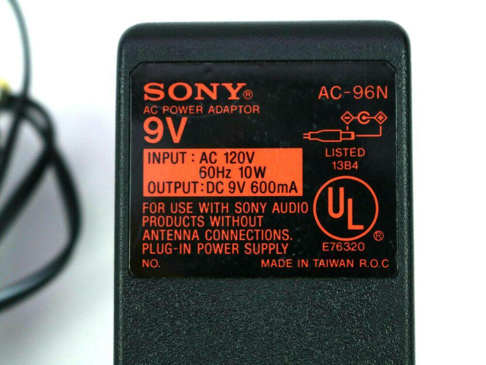 Genuine Sony AC-96N AC Adapter Original 9V Power Supply for Discman