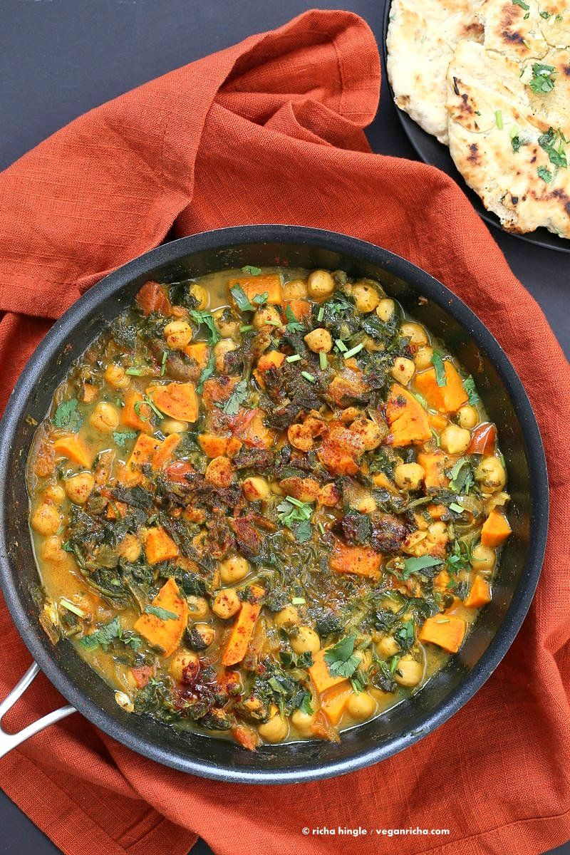 Easy One Pot Chickpea Sweet potato Spinach Curry with Indian Spices. Use spices of choice, pumpkin or other squash and other beans. |