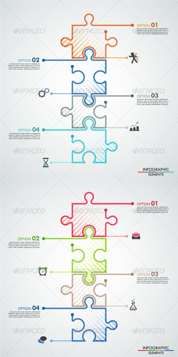 Minimal Infographic Template With Puzzle Colors  Infographic