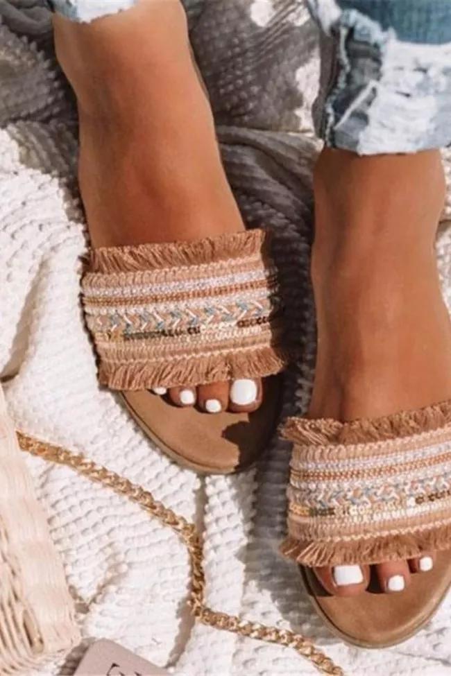 Details about  /Bohemian Women/'s Summer Retro Tassel Buckle Open Toe Sandals Roman Shoes T Strap
