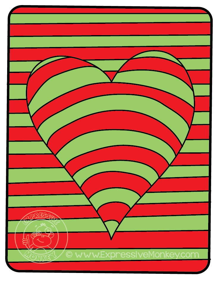 op art hearts color study by expressive monkey color complements - Monkey Pictures To Color