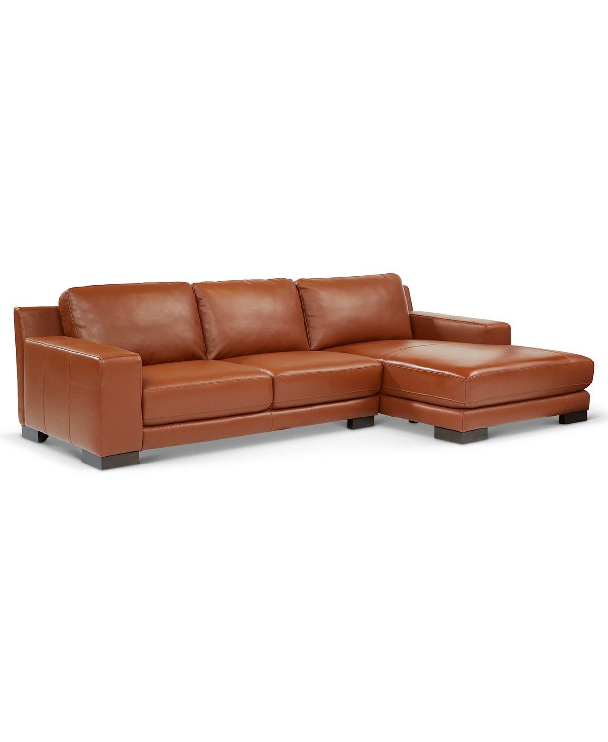 Furniture Darrium 2 Pc Leather Sofa With Chaise Created For Macy S Reviews Furniture Macy S Leather Sofa Leather Couches Living Room Sofa