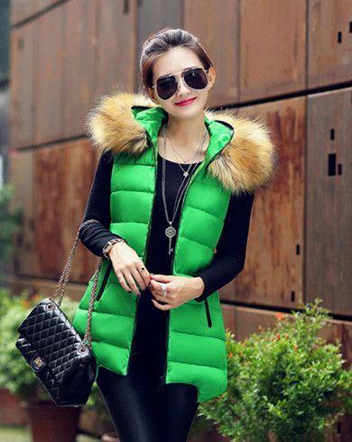 f756b7b54e Women Long Sleeveless Faux Fur Collar Hooded Waistcoat Jacket. Women Winter  Vest Waistcoat 2016 ...