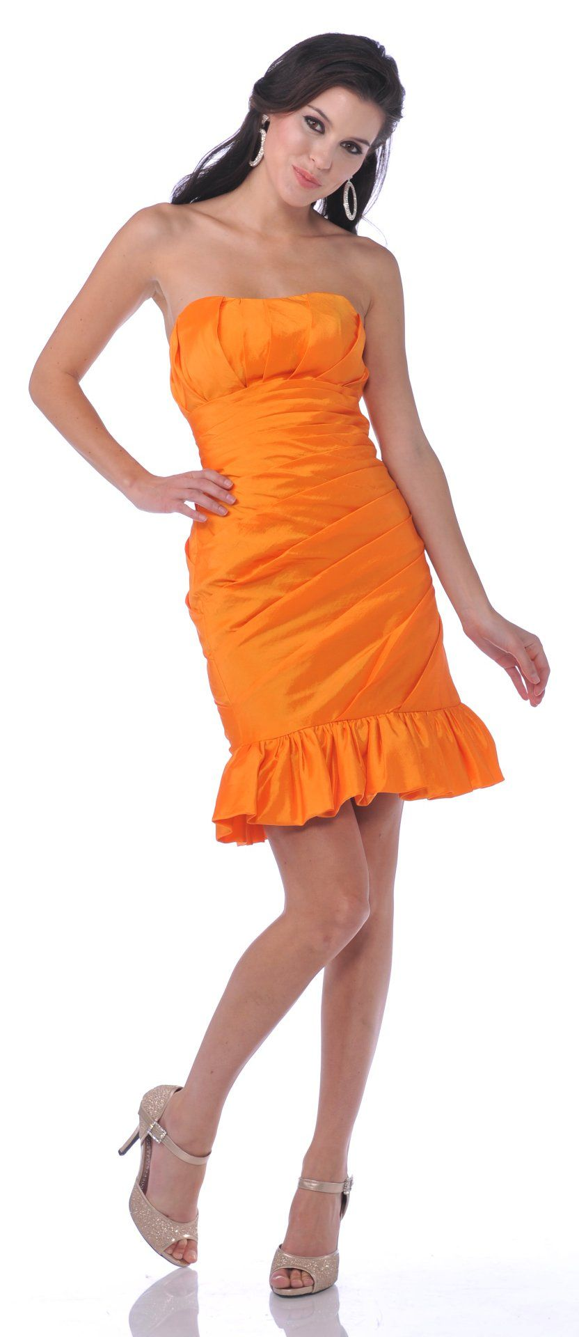 CLEARANCE - Form Fitting Strapless Orange Short Dress Ruffled Skirt ...