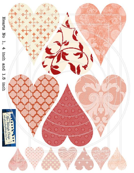 Instant download Hearts No 1 Size 4 inch by aftermidnightdesign