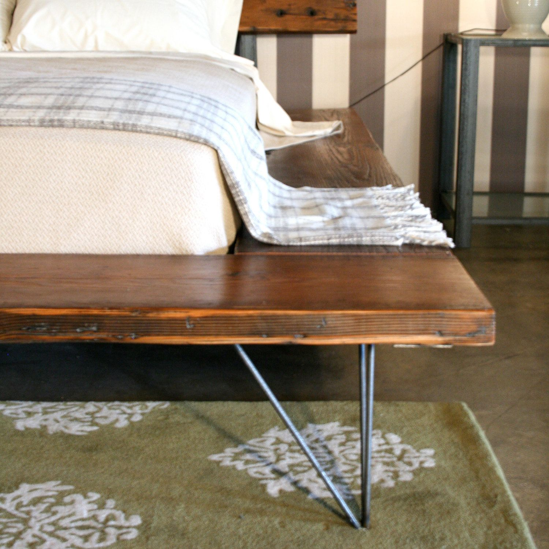 reclaimed wood platform bed frame handmade sustainably in los angeles 2 via etsy. Black Bedroom Furniture Sets. Home Design Ideas