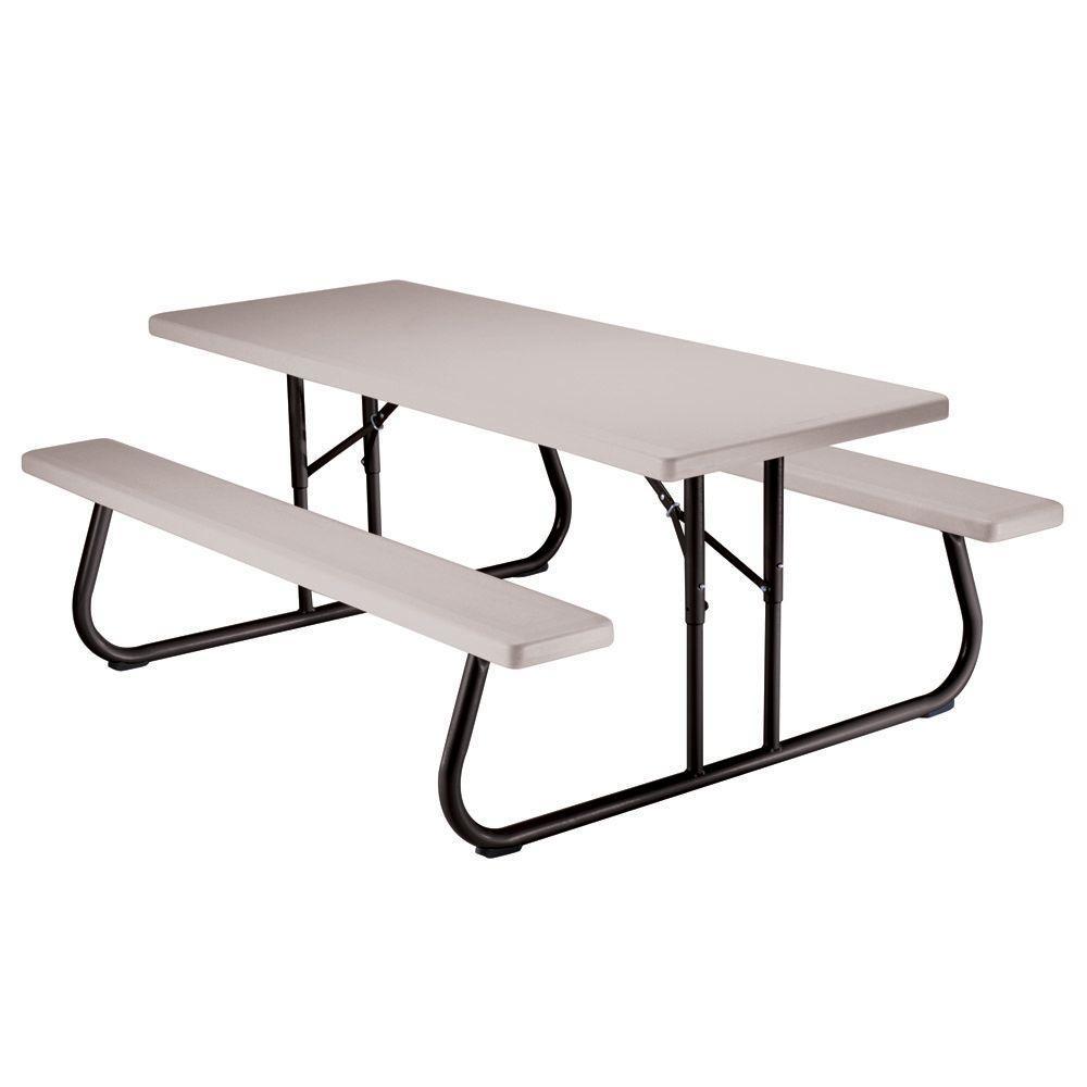 Lifetime 6 Ft Putty Folding Picnic Table 22119 Folding Picnic Table Plastic Picnic Tables Picnic Table