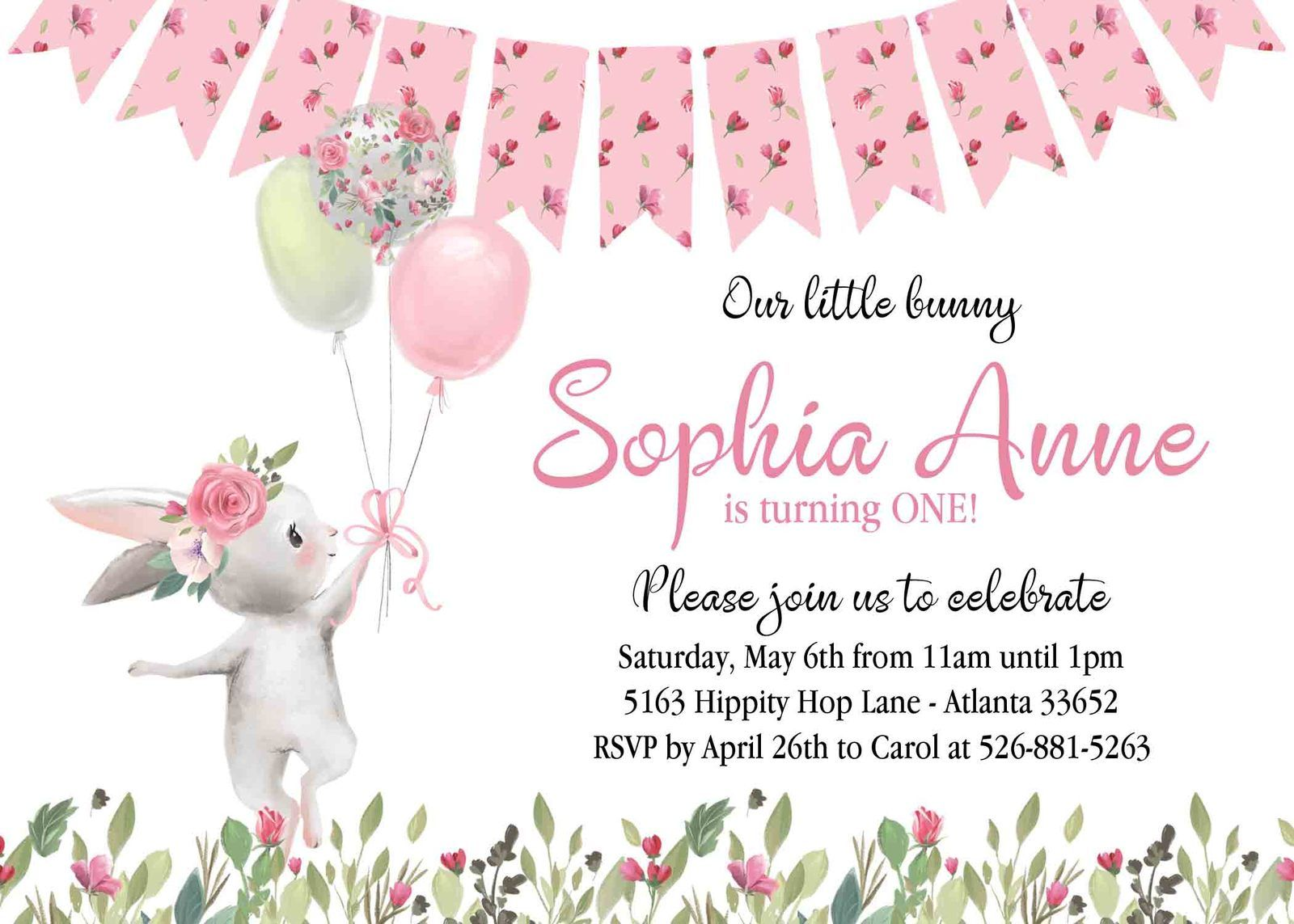 floral bunny birthday invitation