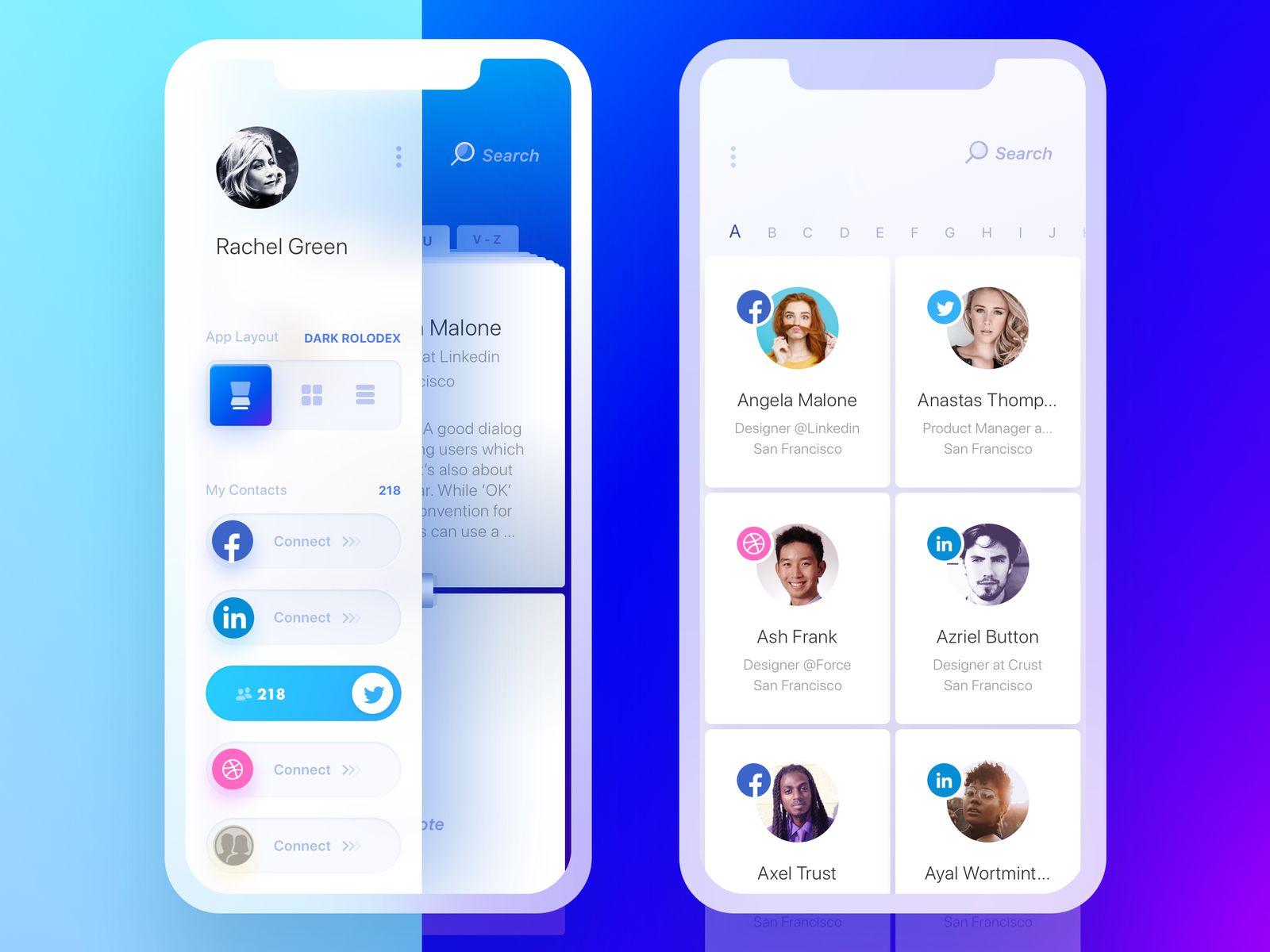Rolodex Side Nav Dark Rolodex Light Tiles Mobile Web Design Mobile App Inspiration Mobile App Design Inspiration