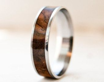 titanium ring mens wedding band wood band