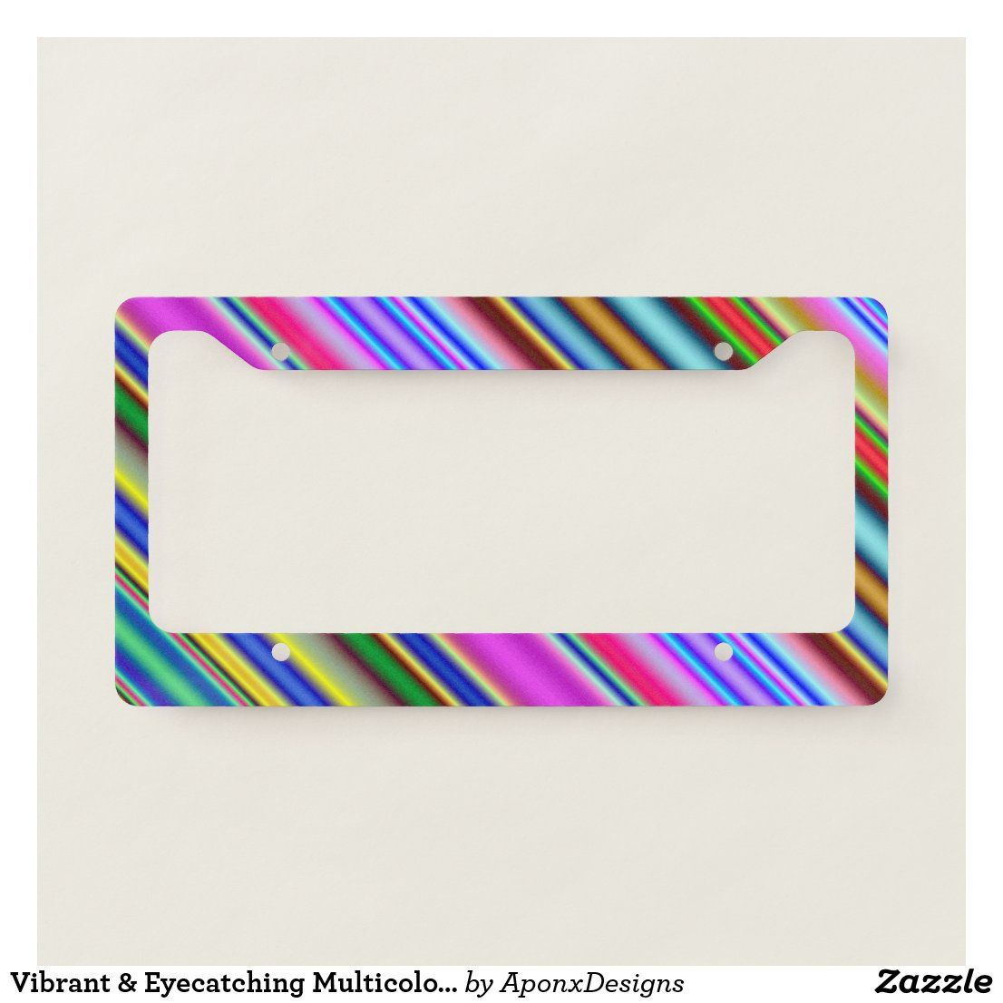 Vibrant & Eyecatching Multicolored Stripes Pattern License Plate Frame