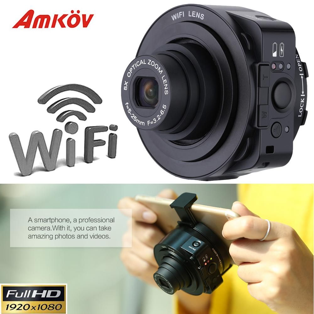 AMKJQ1 Mini Selfie Lens-style Wifi Digital Cameras Camcorder Full HD 1080P  20MP Sport Camera
