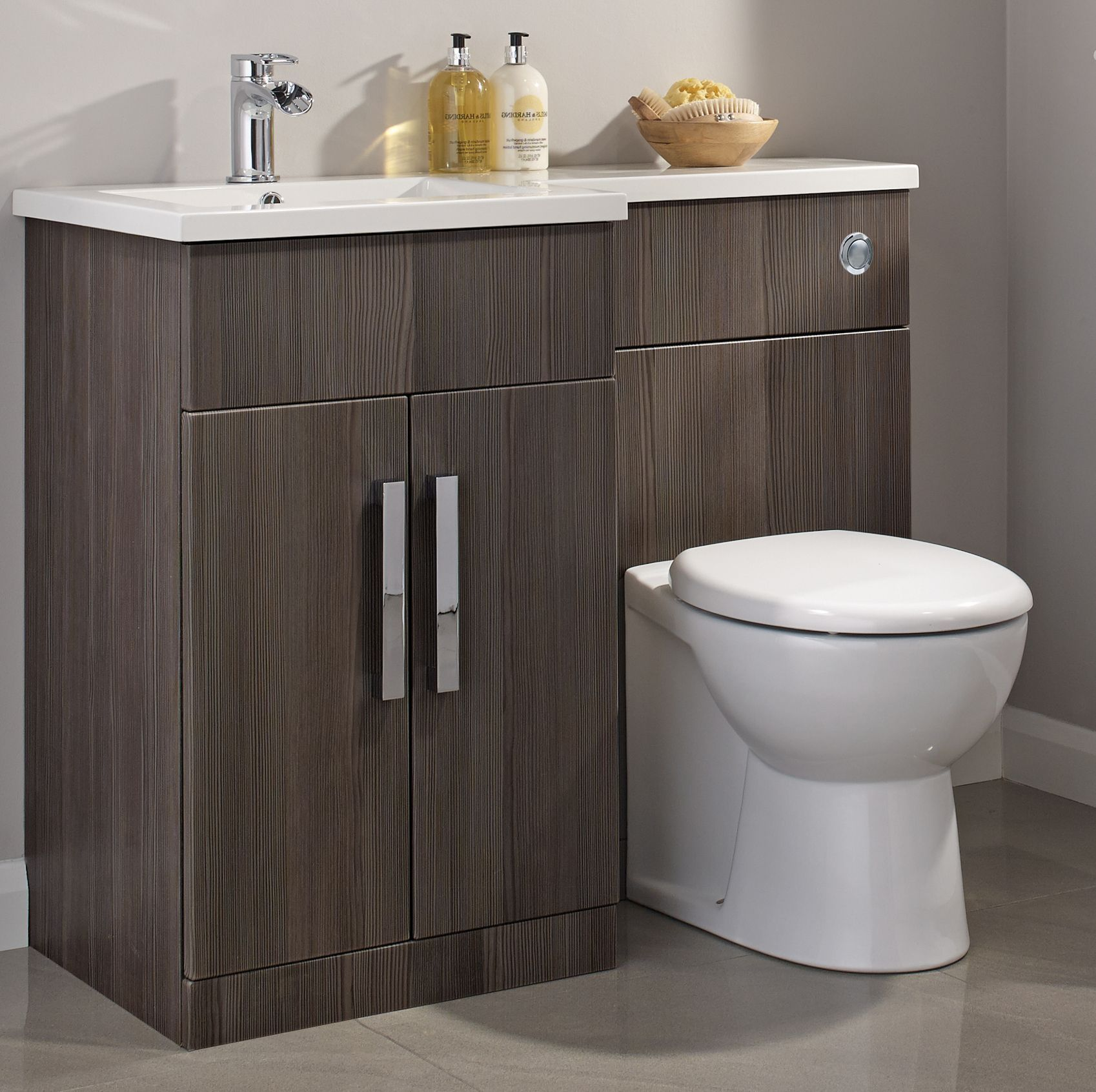 cooke lewis ardesio bodega grey lh vanity toilet pack bq for all your home and garden supplies and advice on all the latest diy trends