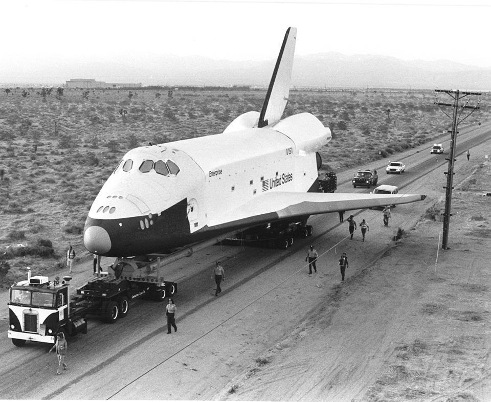 in 1977: Space Shuttle Enterprise was transported 35 miles from the Rockwell International plant in Palmdale, CA to Edwards Air Force Base on a 90-wheel trailer traveling at about 3 mph. Image credit: US Air Force
