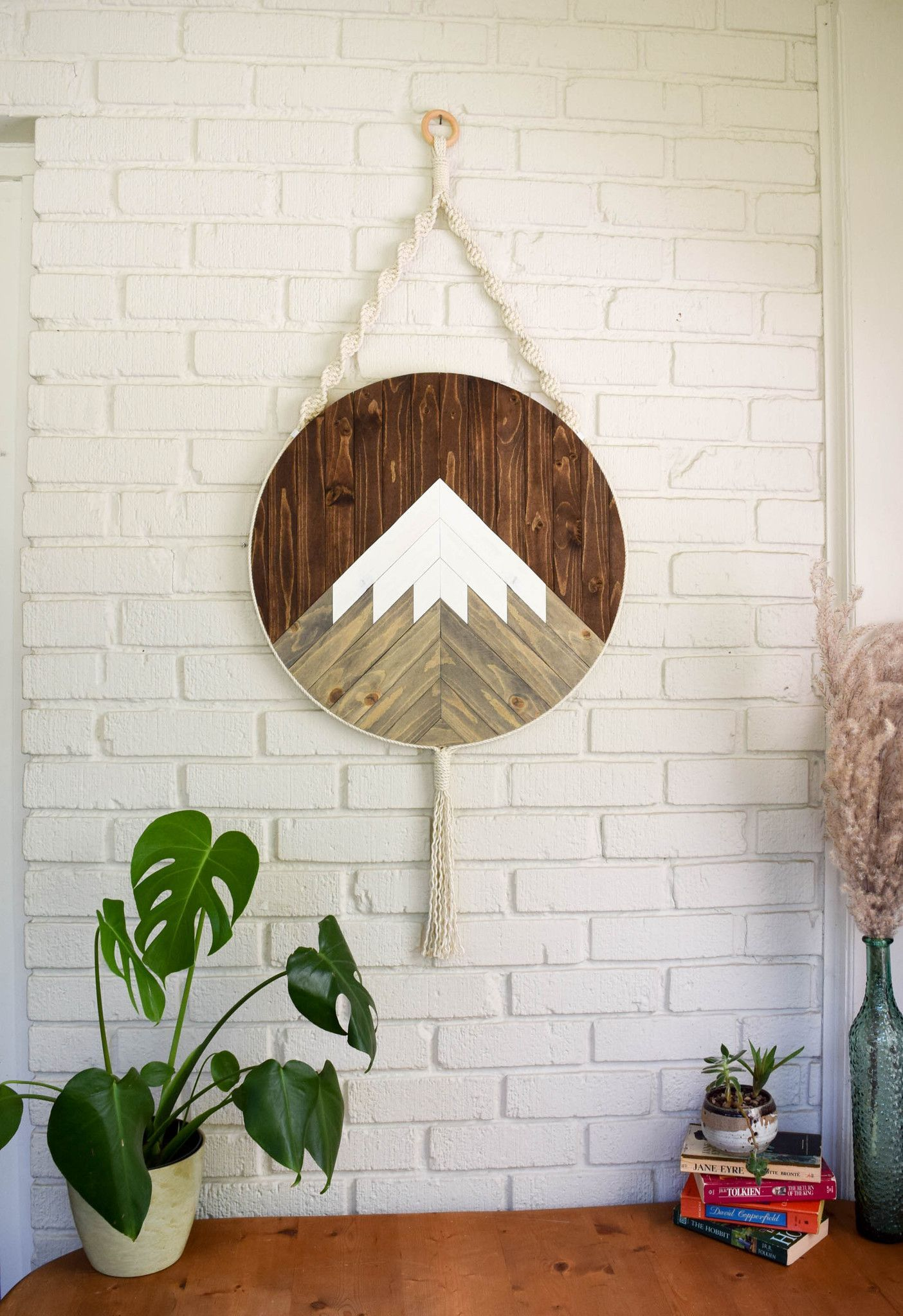 Mt shasta round macrame wood wall art hanging crafts