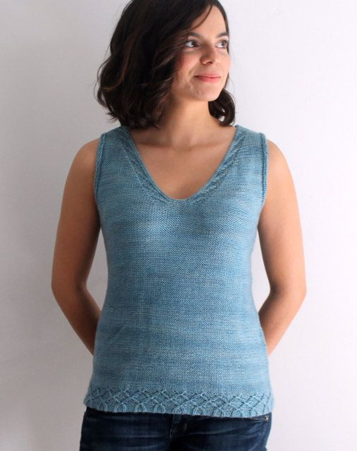 Knitting Pattern For Avelina Tank Top Ad With Delicate Cable Detail