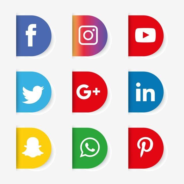 Social Media Icon Set Logo Network Share Business App Like Web Sign Digital Technology Collection Linked Phone Comme Ikon Aplikasi Seni Desain