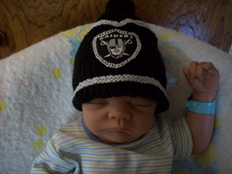 cb95cc26c5f3f NFL OAKLAND RAIDERS Custom Handmade knit Baby Hat in Raiders Team Colors.   25.99