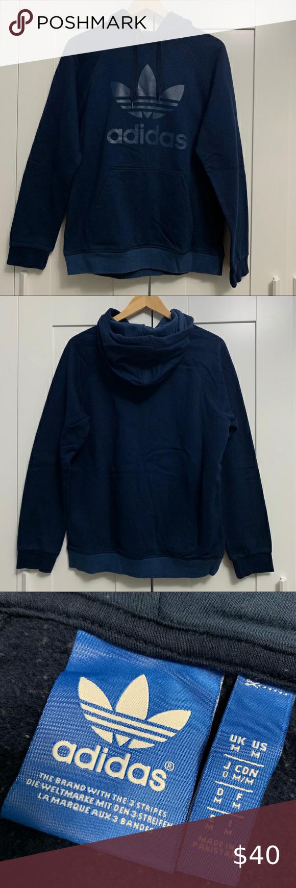 Adidas Men S Navy Blue Trefoil Hoodie Adidas Men Sweatshirt Shirt Hoodies [ 1740 x 580 Pixel ]
