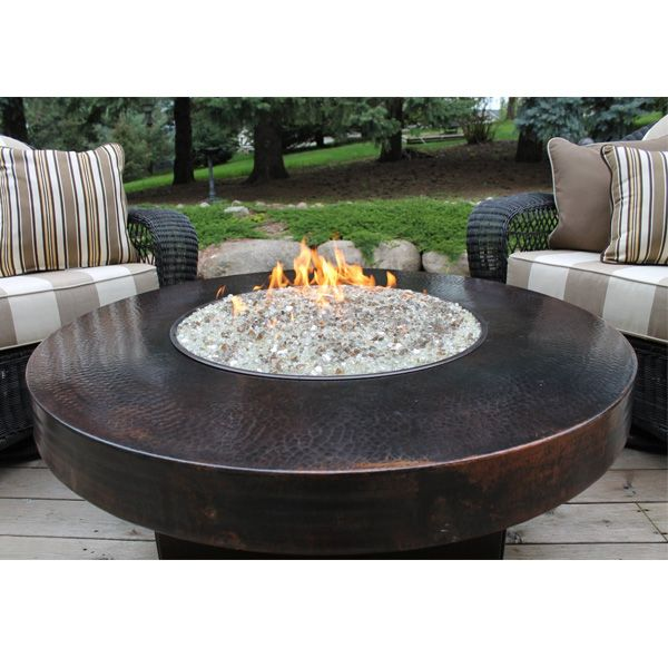Hammered Copper 42 Round Oriflamme Fire Table Gas Fire Pit Table