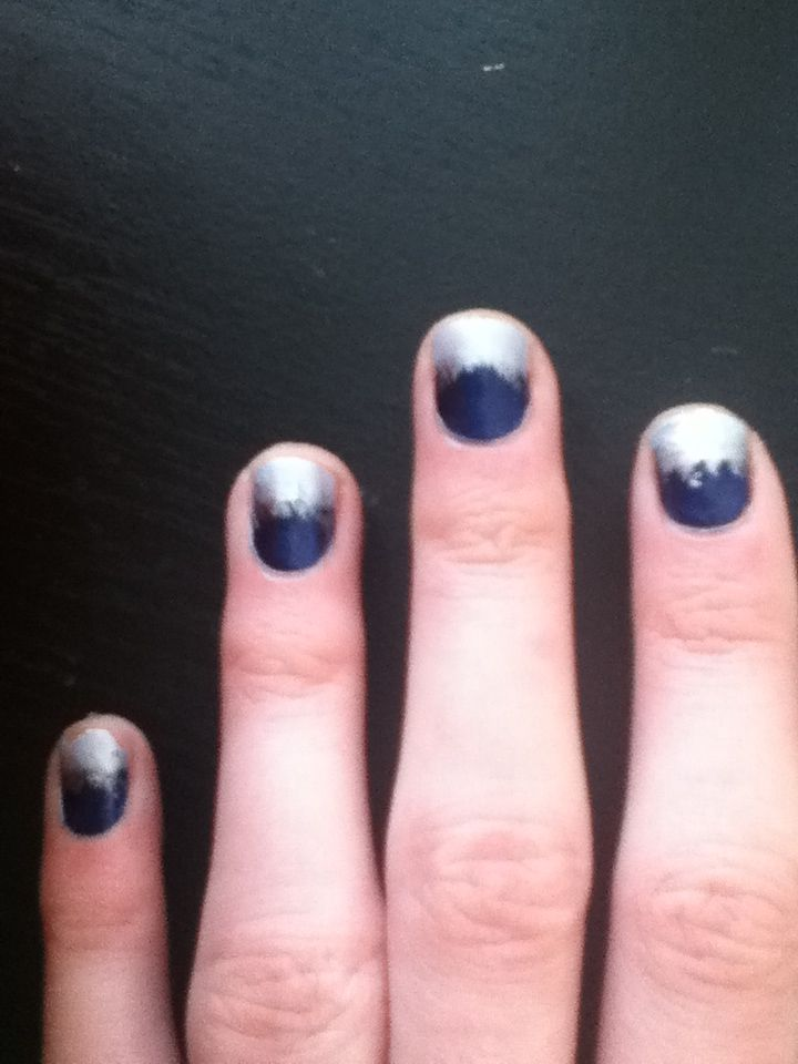 Winter Nails. By www.Liv_ish.blogspot.com How to: Base clear coat. Paint navy blue on the bottom half of nails. Paint the top halves powder blue. Then paint a chrome stripe across the line to cover it up. With a somewhat dry chrome brush, proceed to texturizing the line you just made . . . Letting the bristles create snow-like whisks on the navy blue portion. Top clear coat. Voila! You now have snowy winter nails :)