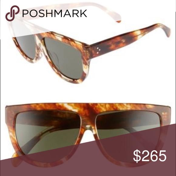 38d178abfa AUTHENTIC Céline Tortoise 60mm Flat Top Sunglasses NWT comes with box  Striped cognac Havana green lense Celine Accessories Sunglasses