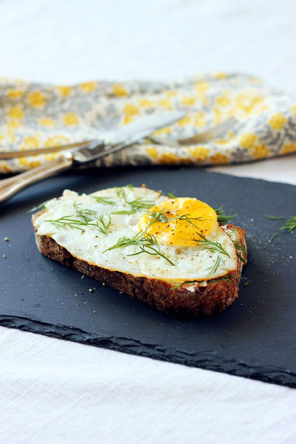 Open-Faced Egg & Goat Cheese Sandwich...Change goat cheese to pretty much anything else, and I'm sold. Maybe cottage cheese, or garlic & herb spread?