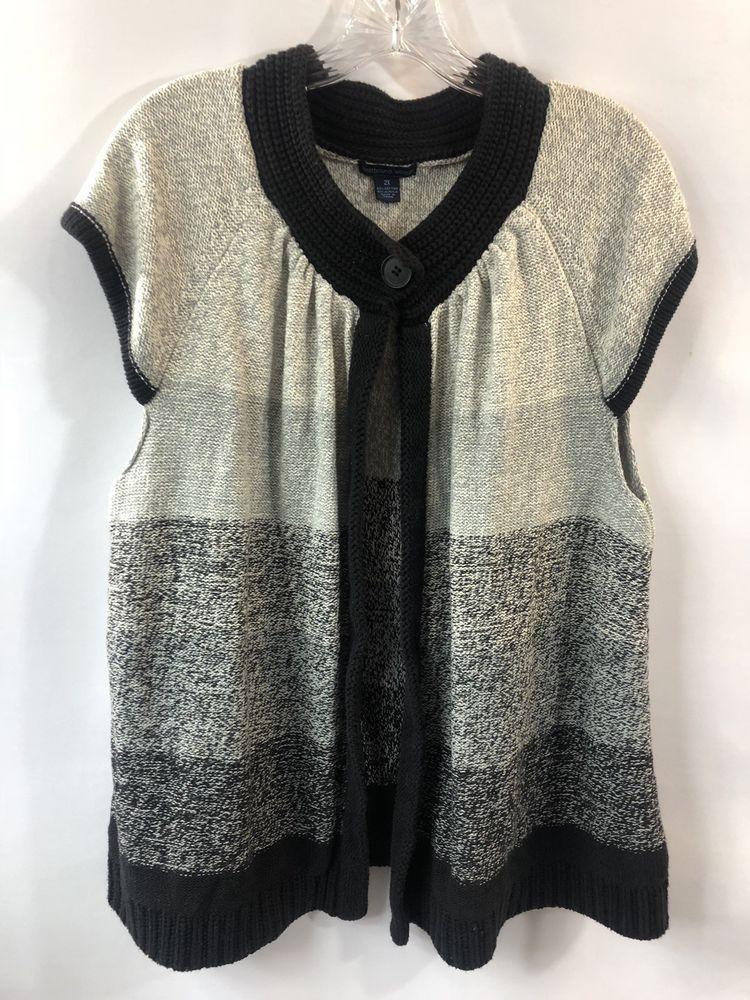 5419bd32f59 Westbound Woman Cardigan Sweater Plus Size 2X Short Sleeve Black Gray   Westbound  Cardigan
