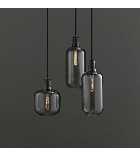 Hanglamp Amp zwart glas marmer Ø11,2x26cm