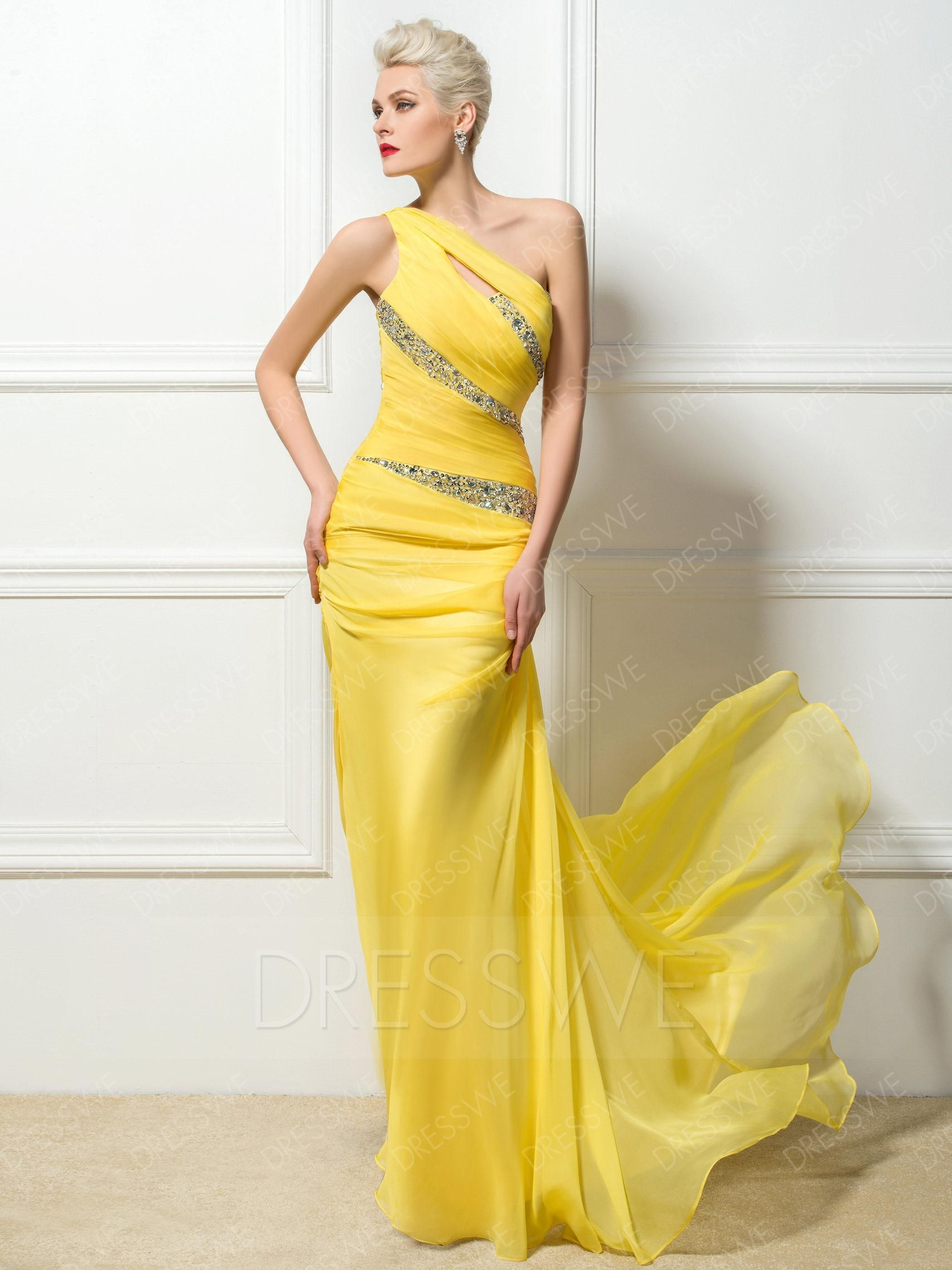 New fashion oneshoulder floor length sweep train eveningprom dress
