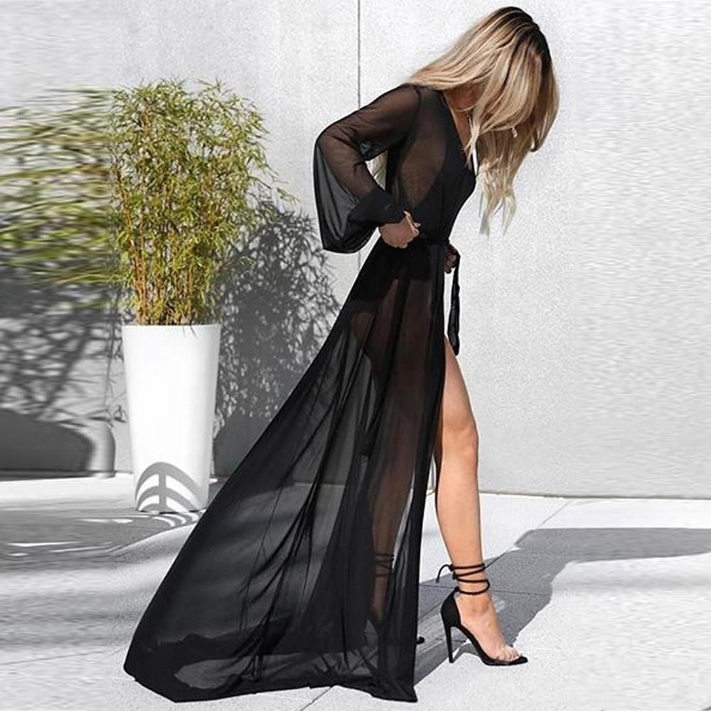 Everly long sleeve maxi chiffon transparent floor length cover up