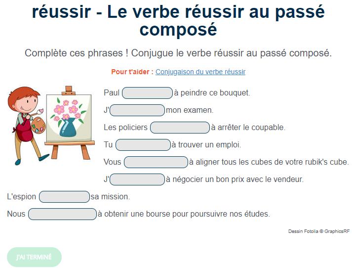 Exercice De Conjugaison Le Verbe Reussir Au Passe Compose