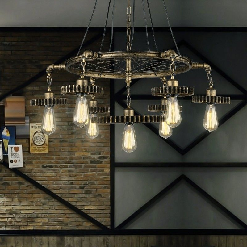 Vintage Style Industrial Loft Gear And Wheel 7 Light Metal Large Pendant Light In Antique Brass In 2020 Large Pendant Lighting Ceiling Lights Industrial Style Lighting