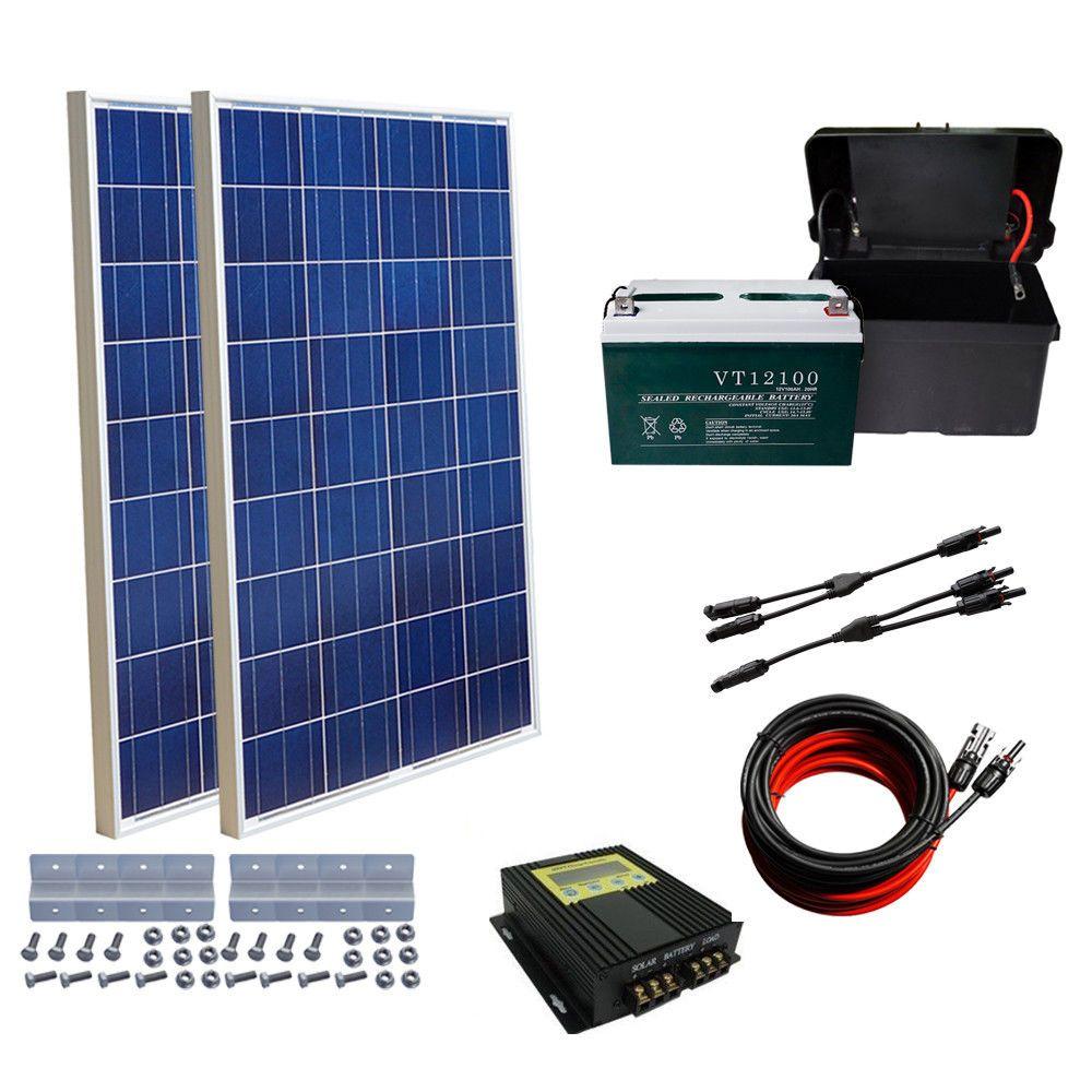 Eco 200w Solar System 2x 100w Solar Panel Charging 12v Power W 100ah Battery Us Solar Panels Solar Module Solar