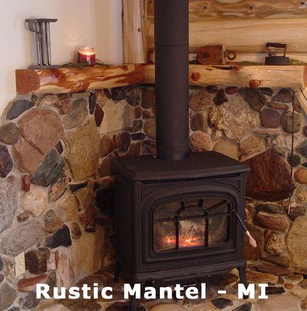 Corner Fireplace Wood Mantel Lounge Wood Burning Stove