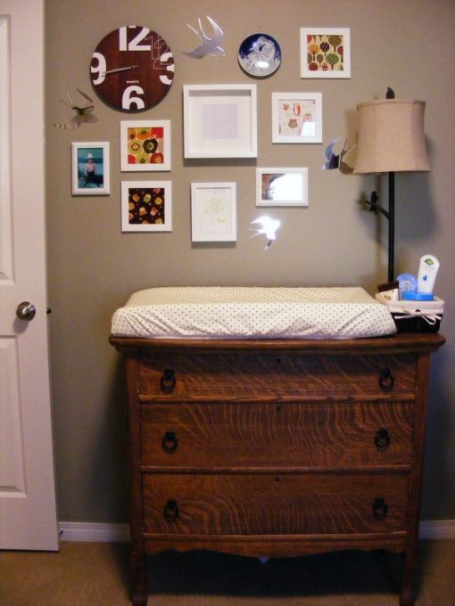 Charmant Hunters Woodland Nursery, Antique Dresser Plays Change Table. Lamp From  Winners, Clock From Wal Mart, White Frames From IKEA, Framed Fabric .