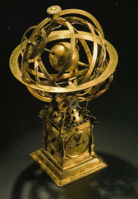 Armillary Sphere And Clock Rosenborg, Antique Armillary Sphere