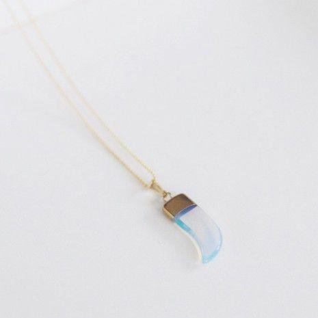 Opal horn necklace