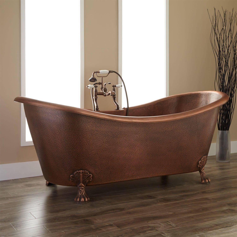 Isabella Copper Double Slipper Clawfoot Tub Log Home Bathrooms Clawfoot Tub Copper Clawfoot Tubs