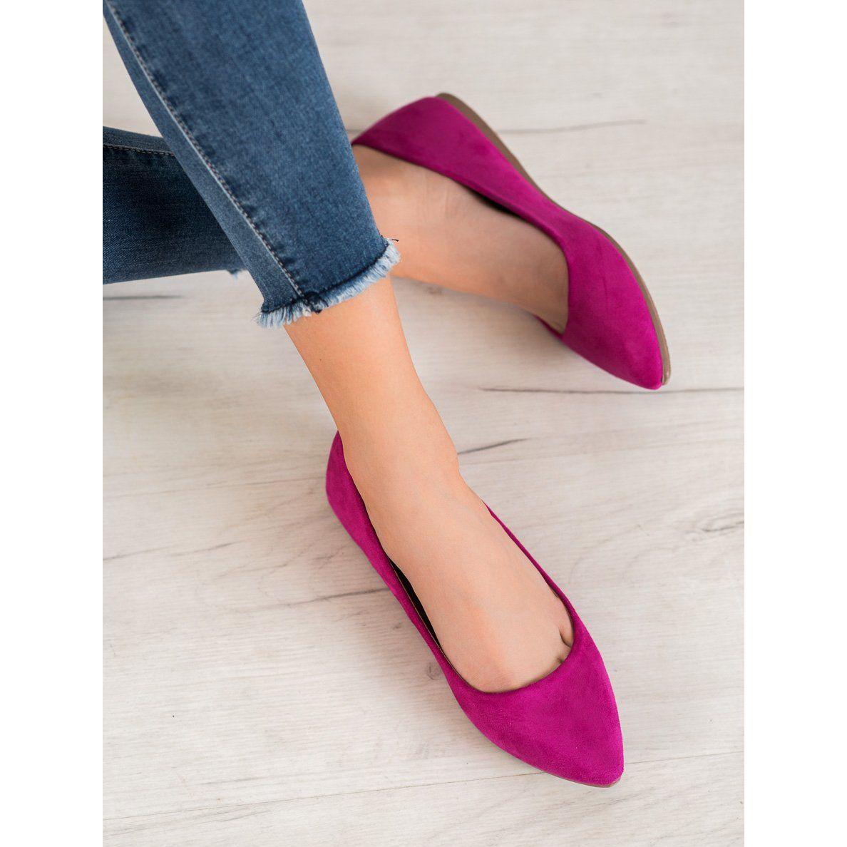 Seastar Casualowe Baleriny Fioletowe Heels Shoes Pumps