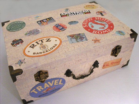 Wedding card box travel theme wedding vintage luggage by DabHands – Wedding Card Keepsake Box