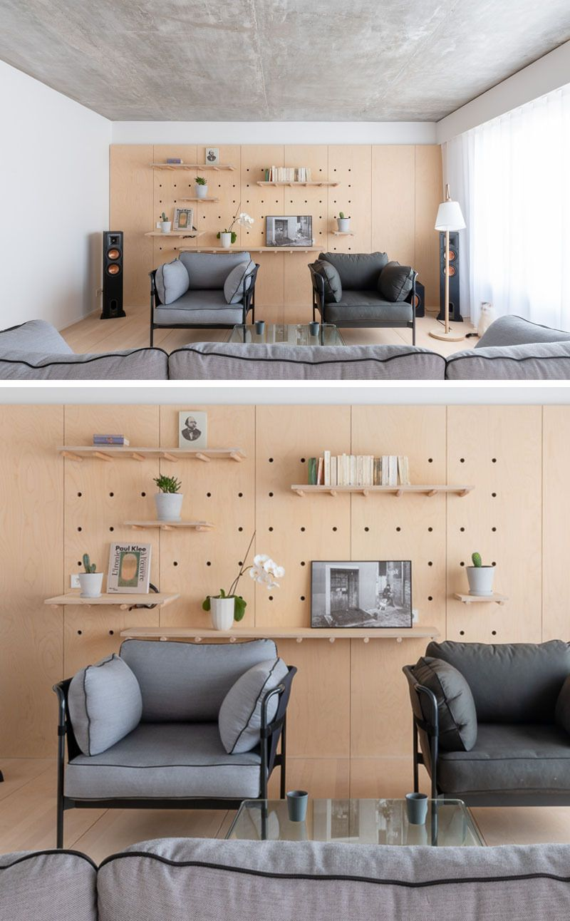 pegboard used as feature wall in interior space