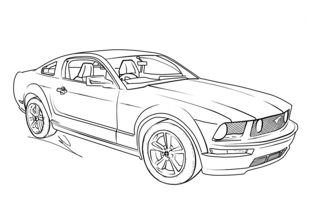 Kids Coloring Picture Of A Mustang Muscle Car Transportation