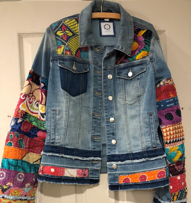 Jean Jacket Hippie Boho Embellished Colorful Denim Jean Jacket Etsy Colored Denim Denim Ideas Denim Jean Jacket [ 3000 x 2833 Pixel ]
