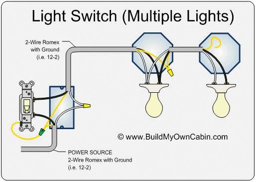 Image result for wiring a light switch to multiple lights