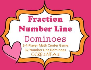 Fraction Number Line Dominoes for a math center CCSS 3.NF.A.2 32 number line dominoes