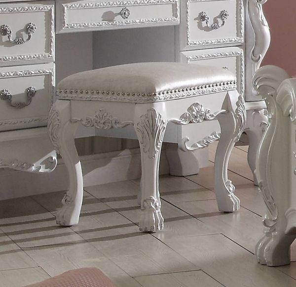 Acme Furniture Dresden Antique White Vanity Stool | Vanity ...