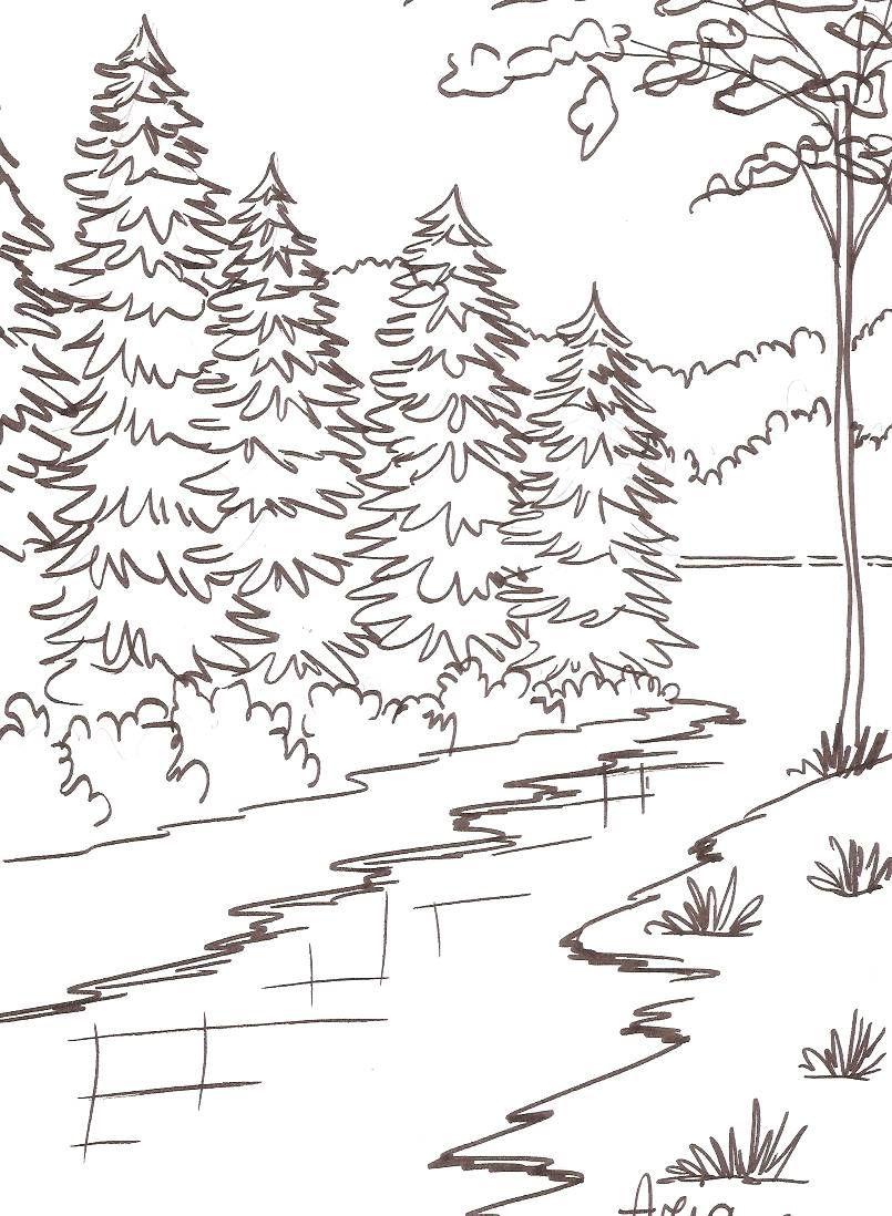 Pin by Daidy M. on Ausmalbilder Landschaften und Häuser | Pinterest ...