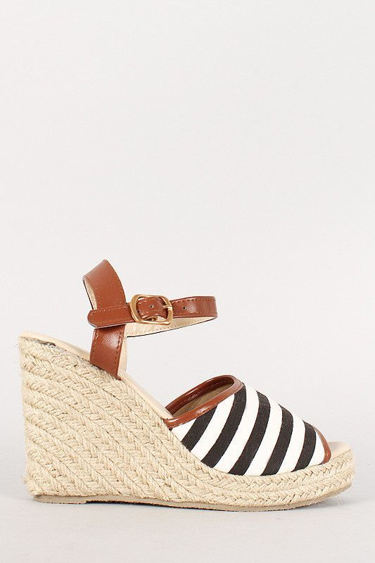 15ff8b75422 Stripe Canvas Peep Toe Espadrille Platform Wedge | Products | Peep ...